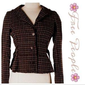 💕SALE Free People Brown Soft Tweed Leather Blazer